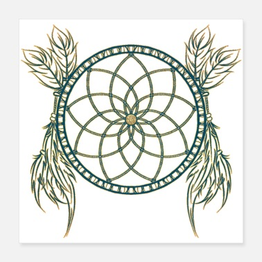 Feather Dreamcatcher with feathers, dreamcatcher with feathers - Poster