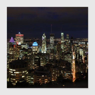 skyline montreal at night canada - Poster 40x40 cm