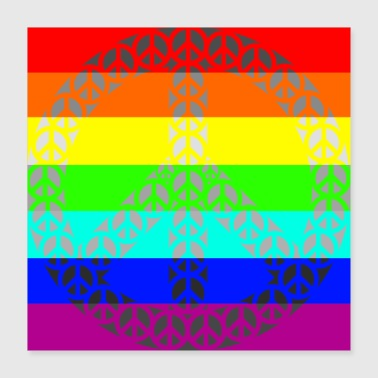 Rainbow Gay Peace - Juliste 40 x 40 cm