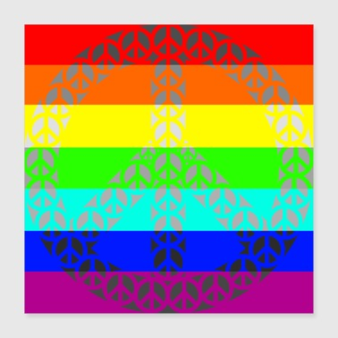 Rainbow Gay Peace - Poster 40x40 cm
