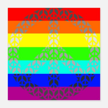 Manif Rainbow Gay Paix - Poster 40 x 40 cm