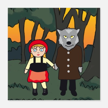 Fairy Tale Figure Little Red Riding Hood and Wolf | Fairy Tale Poster | image - Poster