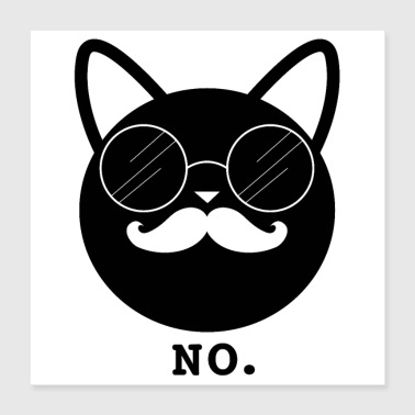 Hipster Cat Nee (poster) - Poster 40x40 cm