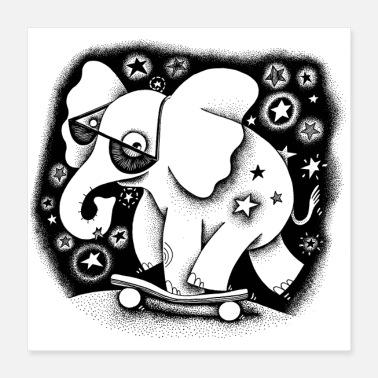 341f7052745d21 Skateboard Elefant Skateboard Sonnenbrille Sterne cool - Poster