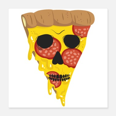 Pizza Halloween Pizza T-Shirt - Poster 40x40 cm