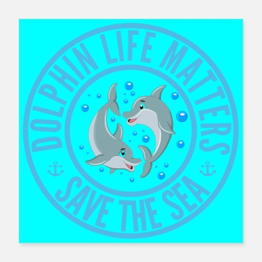 Save Save the seas and their inhabitants, microplastics - Poster 40x40 cm