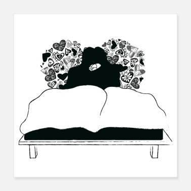 Bed Lovers in bed - Poster 40x40 cm