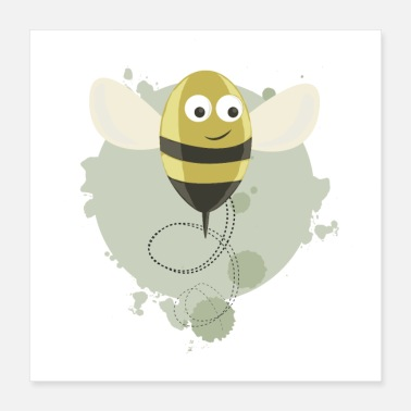 Bumble Bee BEE - GREEN - Poster 40x40 cm
