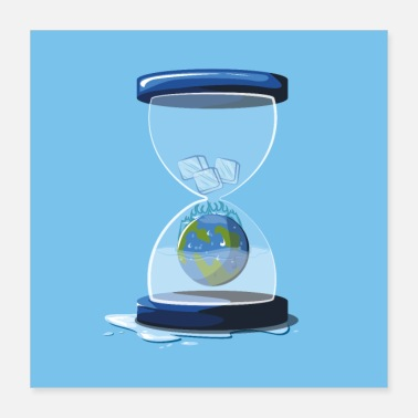 Global Hourglass globe global opvarmning - Poster