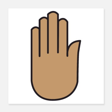 Tanning Brown tan hand symbol palm up - Poster