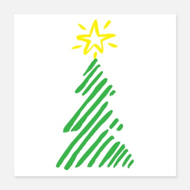 Christmas Rough stylised Christmas tree stripes - Poster