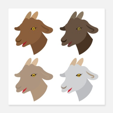 Happy Face four happy goats faces - Poster