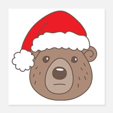 Unhappy Sad Christmas bear with SANTA hat - Poster