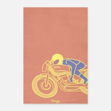Motocycle seventies racer yellow - Poster 24 x 35 (60x90 cm)