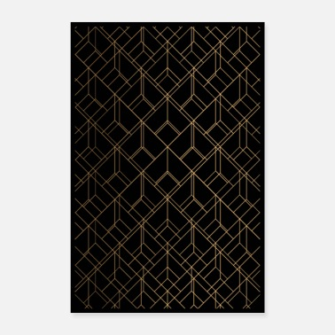 Gold Geometry on Black Print Design - Poster