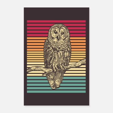 Bird Of Prey Owl Bird Bird of Prey Retro Barred Owl Gift - Poster