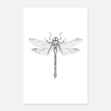 Minimum Dragonfly insect halftone grid wall art decoration - Poster