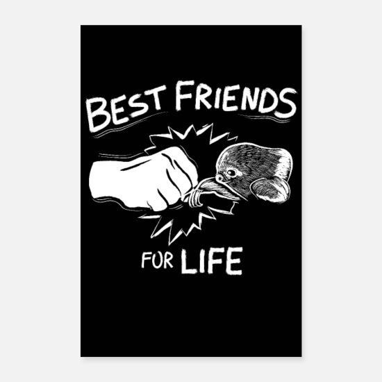 Slow Posters - Best Friends For Life Sloth - Posters white