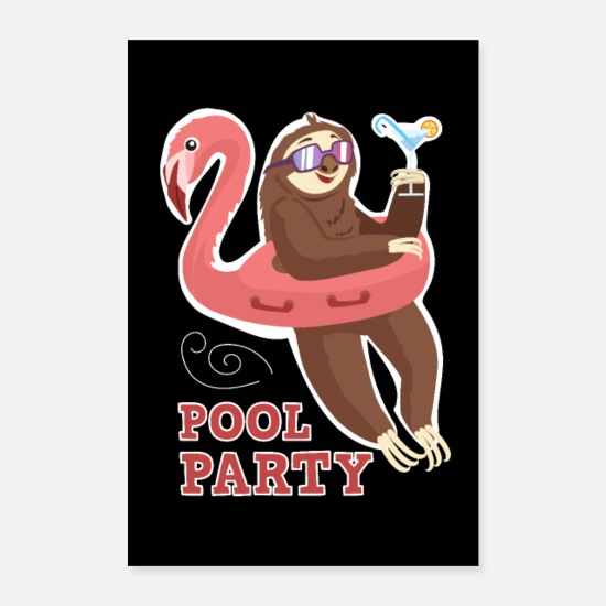 Slow Posters - Pool party sloth inflatable flamingo sloth - Posters white
