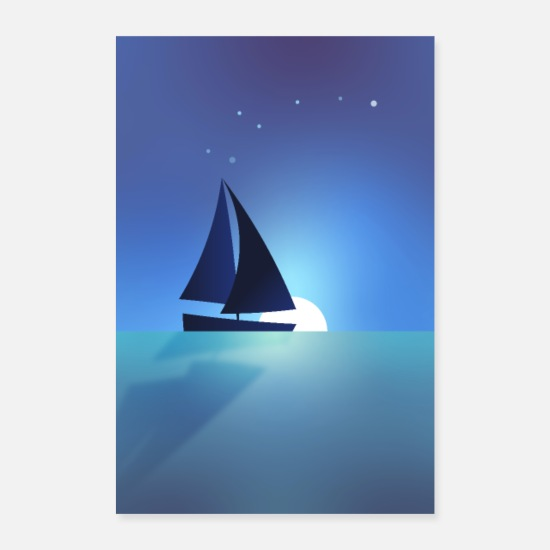 Birthday Posters - Sailing ship sailing by the sea - Posters white