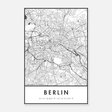 Berlijn Berlijn Map City Map Citymap Map - Poster