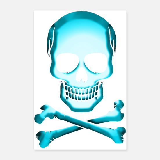 Pirate Posters - Skull skull and bones Jolly Roger - Posters white