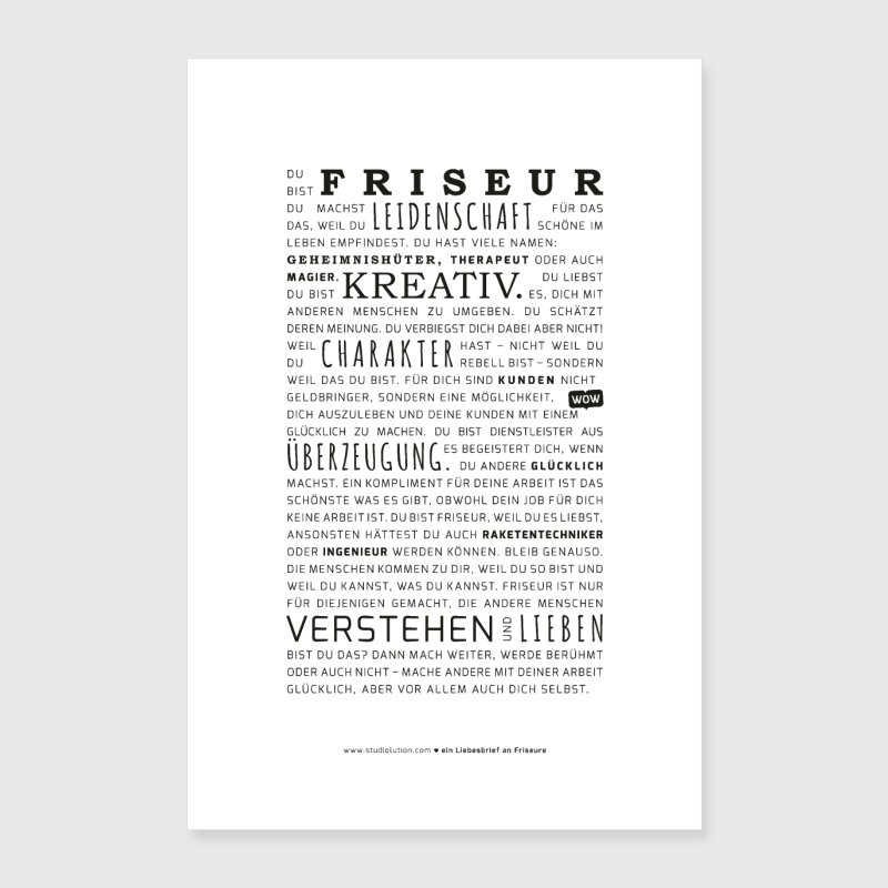 Love letter to hairdressers - poster by studiolution | Spreadshirt