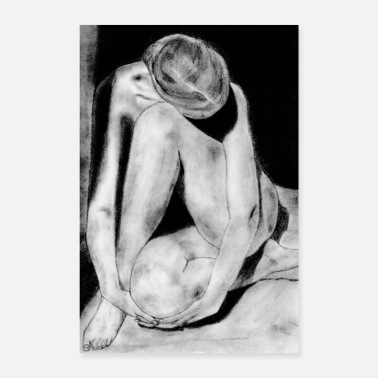 Naked Woman Shy woman naked - Poster 24 x 35 (60x90 cm)