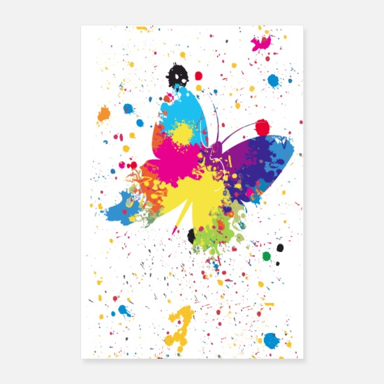 Papillon Posters - Butterfly Splash - Affiche - Posters blanc