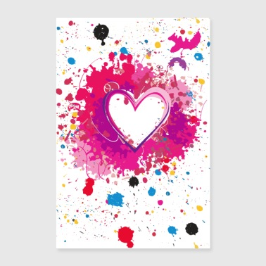 Splashed Heart - Poster - Poster 60x90 cm