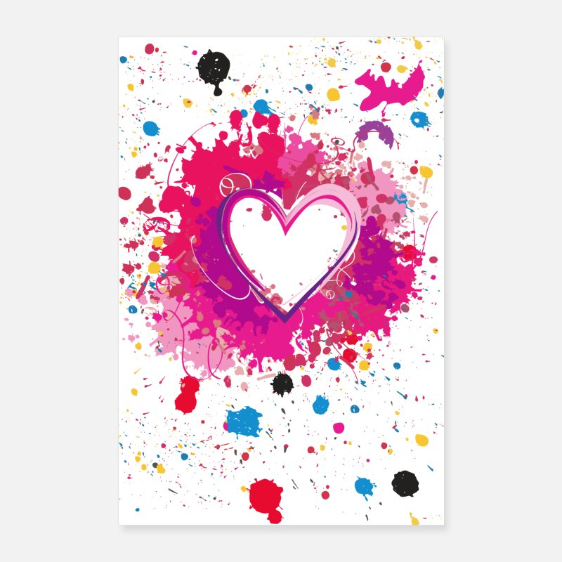 Valentine's Day Posters - Splashed Heart - Poster - Posters white