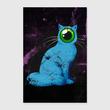One-eyed Cyclops Cat Weird Poster (Blue) - Poster 24 x 35 (60x90 cm)