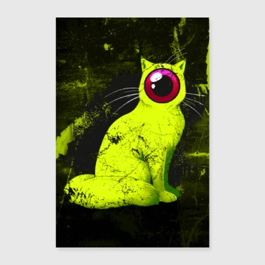 One-eyed Cyclops Cat Weird Poster (geel) - Poster 60x90 cm