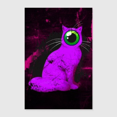 One-eyed Cyclops Cat Weird Poster (roze) - Poster 60x90 cm