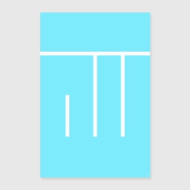 Allah - Dieu - police turquoise minimaliste - Poster 60 x 90 cm
