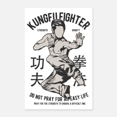 China KUNG FU FIGHTER - Kampfsport Geschenke Shirts - Poster 60x90 cm