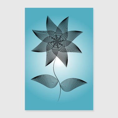 Lineart flower on blue background - Poster 24 x 35 (60x90 cm)