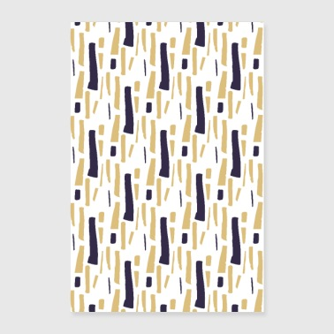 Stripes Blue Gold Dots Art - Poster 60x90 cm
