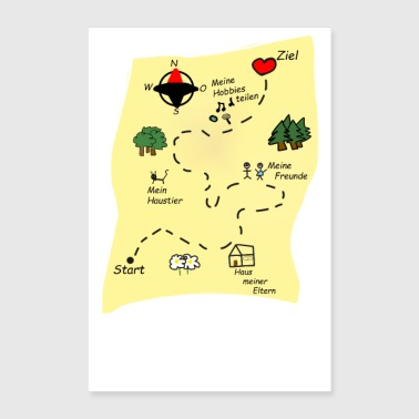 Treasure Way to my heart treasure map gift girlfriend - Poster 24 x 35 (60x90 cm)