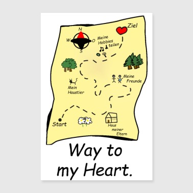 Way to my heart treasure map gift girlfriend a - Poster 24 x 35 (60x90 cm)