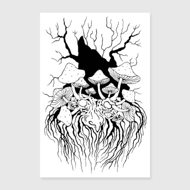 Forest spirit pilzopa poster black and white poster 24 x 35 60x90 cm