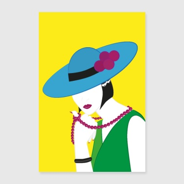 Elegant Madame in green and blue - Poster 24 x 35 (60x90 cm)