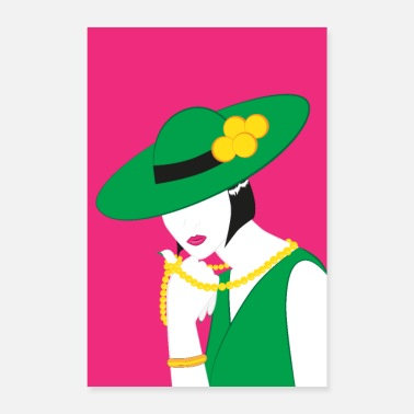 Attractive Elegant Madame in green - Poster 24 x 35 (60x90 cm)