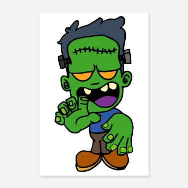 Yell Halloween zombie Frankenstein monster scar head - Poster