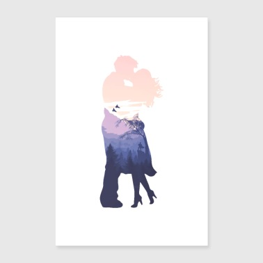 Baiser amour couple silhouette relation art - Poster 60 x 90 cm