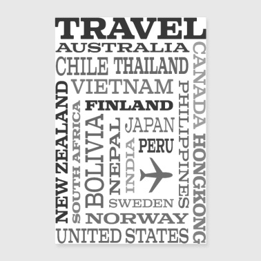 Travel Places Gray design - Poster 60 x 90 cm