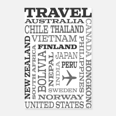 But Travel Places Gray design - Poster 60 x 90 cm