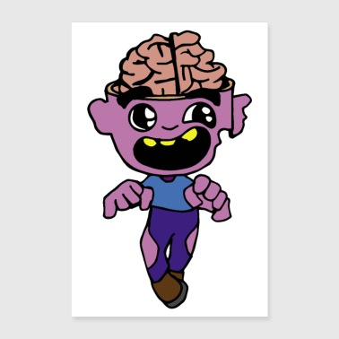 Halloween Open Brain Zombie Sleepwalking - Poster 60x90 cm