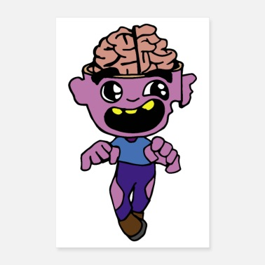 Hjerne Halloween Open Brain Zombie Sleepwalking - Poster 60x90 cm