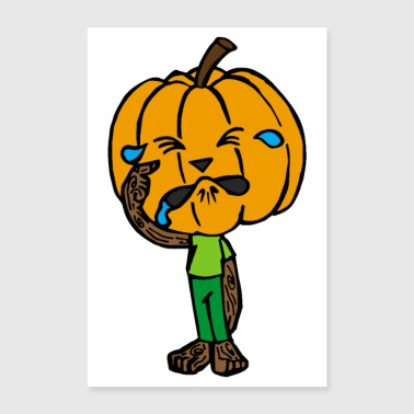 Halloween scared pumpkin crying rubbing eyes - Poster 24 x 35 (60x90 cm)
